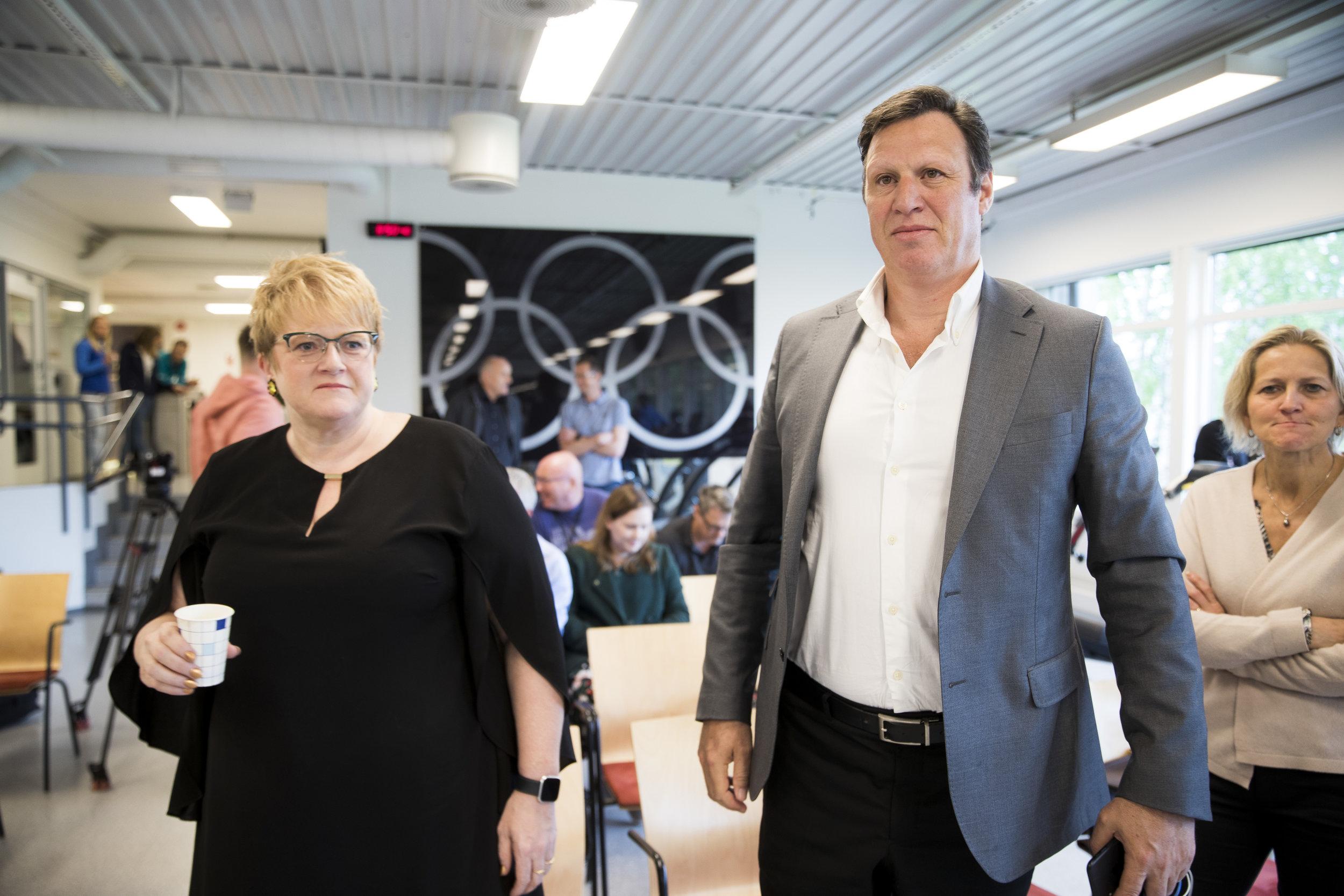 Kulturminister Trine Skei Grande og idrettspresident Tom Tvedt skal begge i aksjon på Idrettstinget fredag. FOTO: Vidar Ruud/NTB scanpix