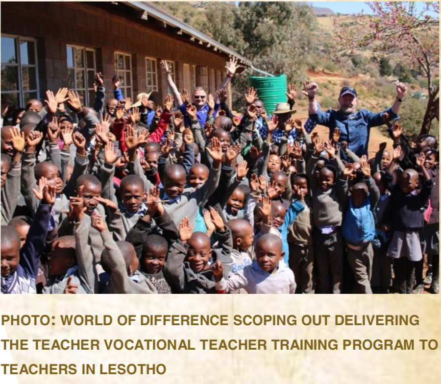 PHOTO:WORLD OF DIFFERENCE SCOPING OUT DELIVERING THE TEACHER VOCATIONAL TEACHER TRAINING PROGRAM TO TEACHERS IN LESOTHO