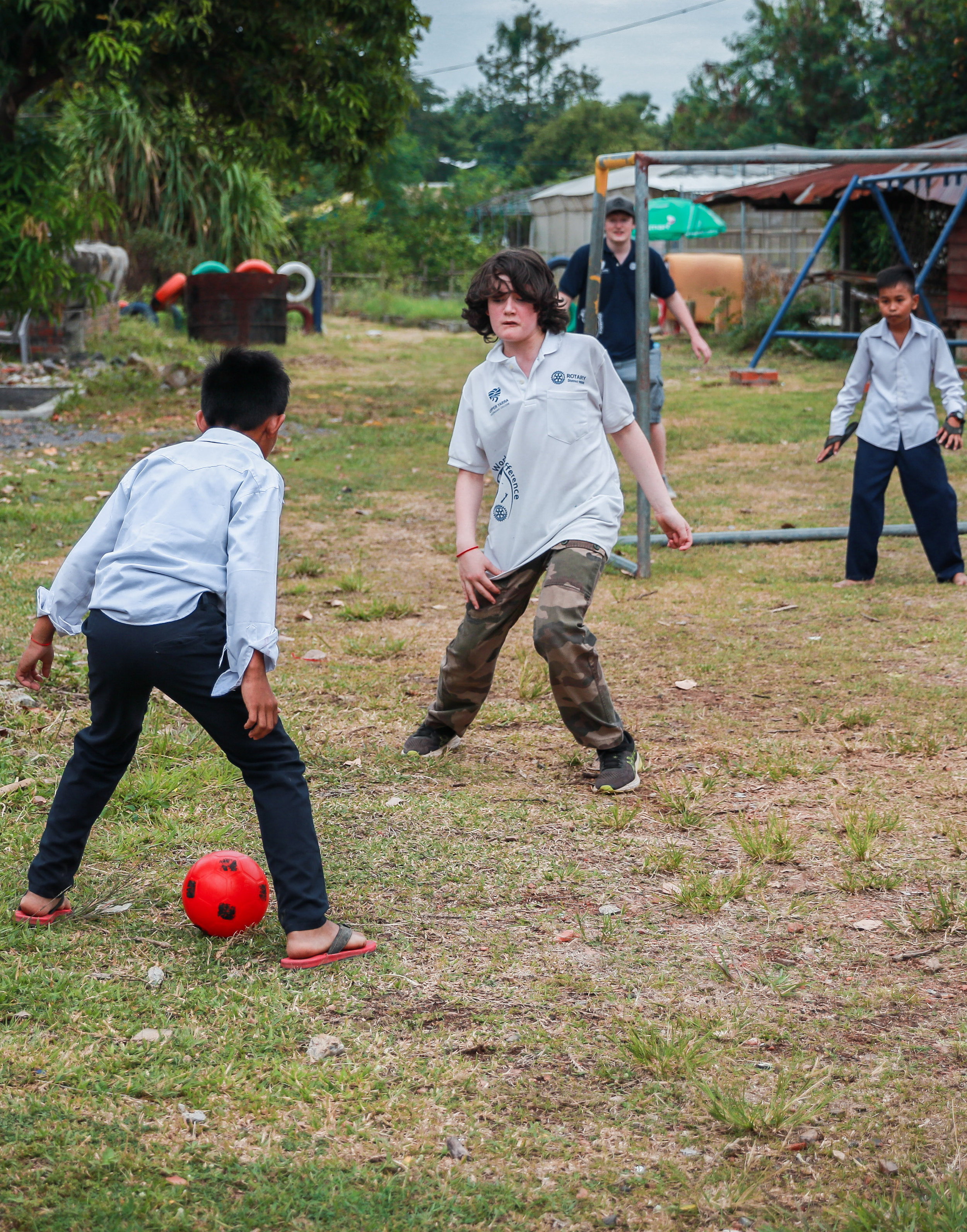 Enjoying a game of soccer.