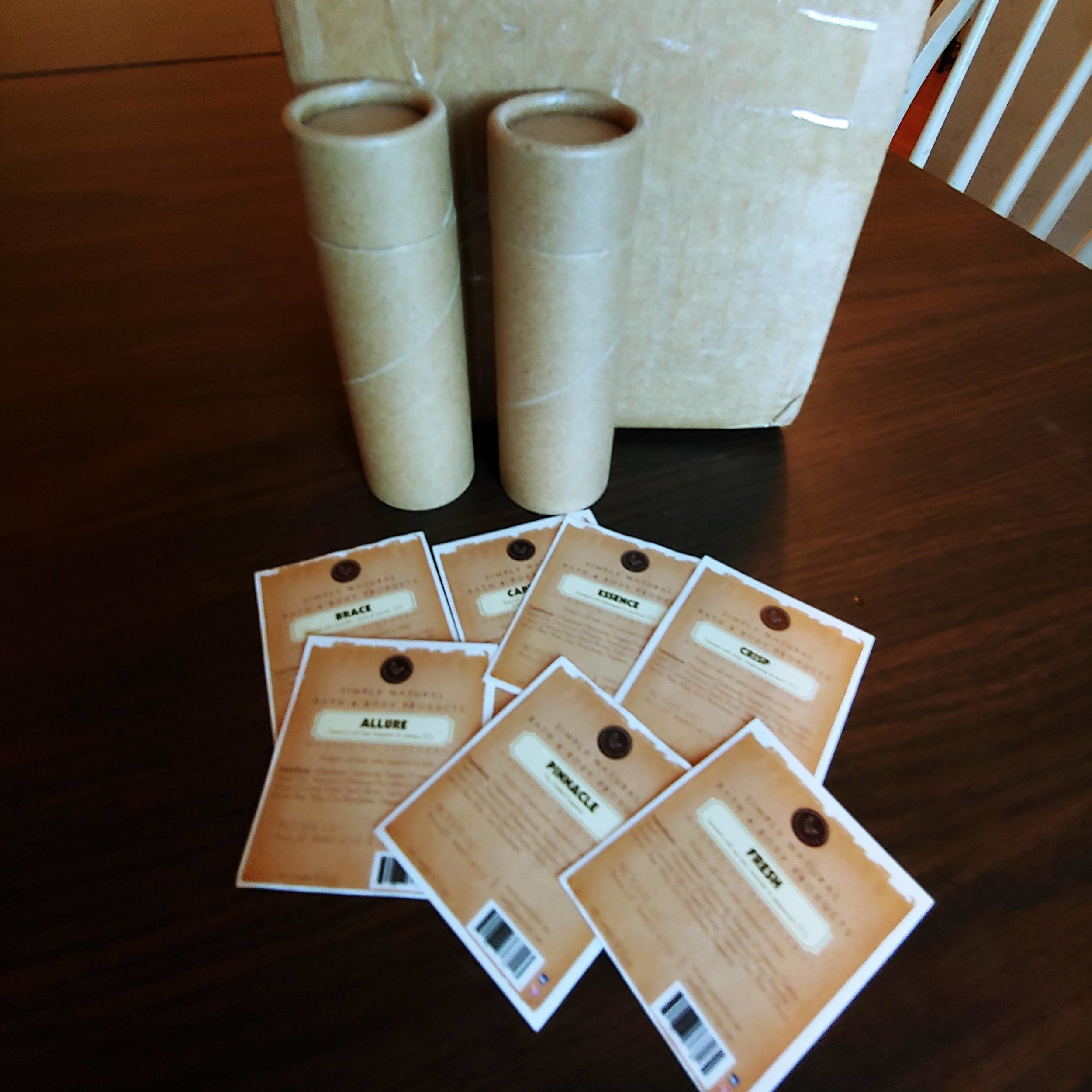 Cardboard packing and labels for MagneZinc deodorant