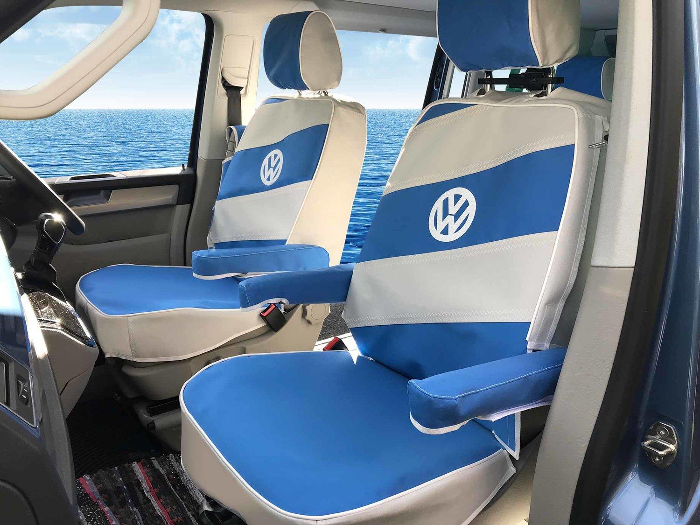 PREMIUM BLUE PIPING VAN SEAT COVERS SINGLE VOLKSWAGEN TRANSPORTER T3 DOUBLE