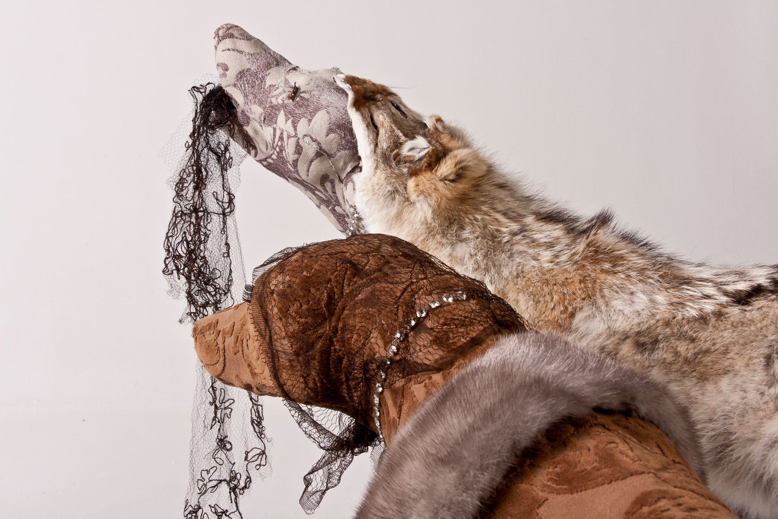Coy Wolves , 2010, textile over taxidermy forms, found fur and accessories  Photo: Jeff Crawford