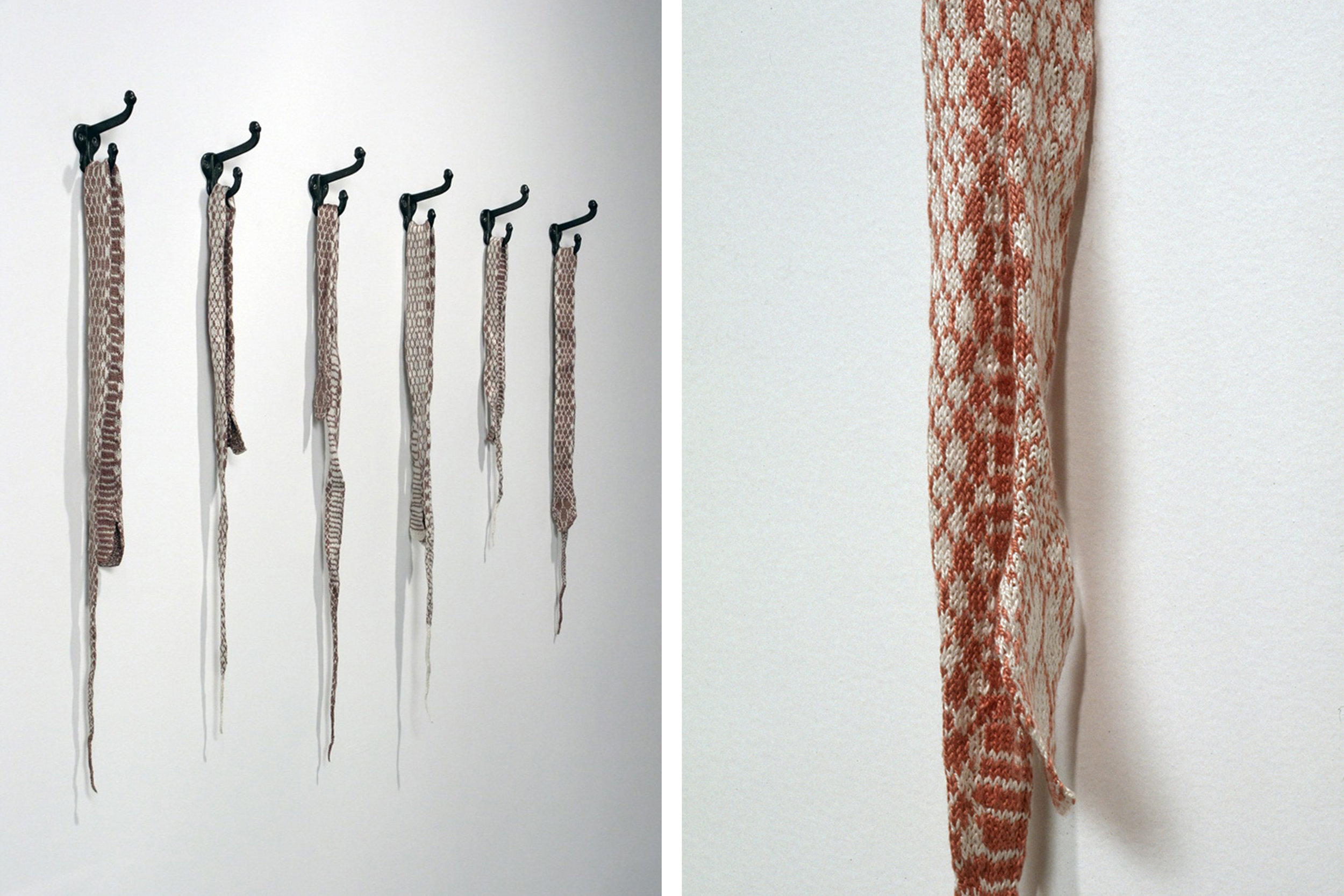 Shed,  2003, hand knit silk yarn, found coat hooks  Photo: Paul Litherland