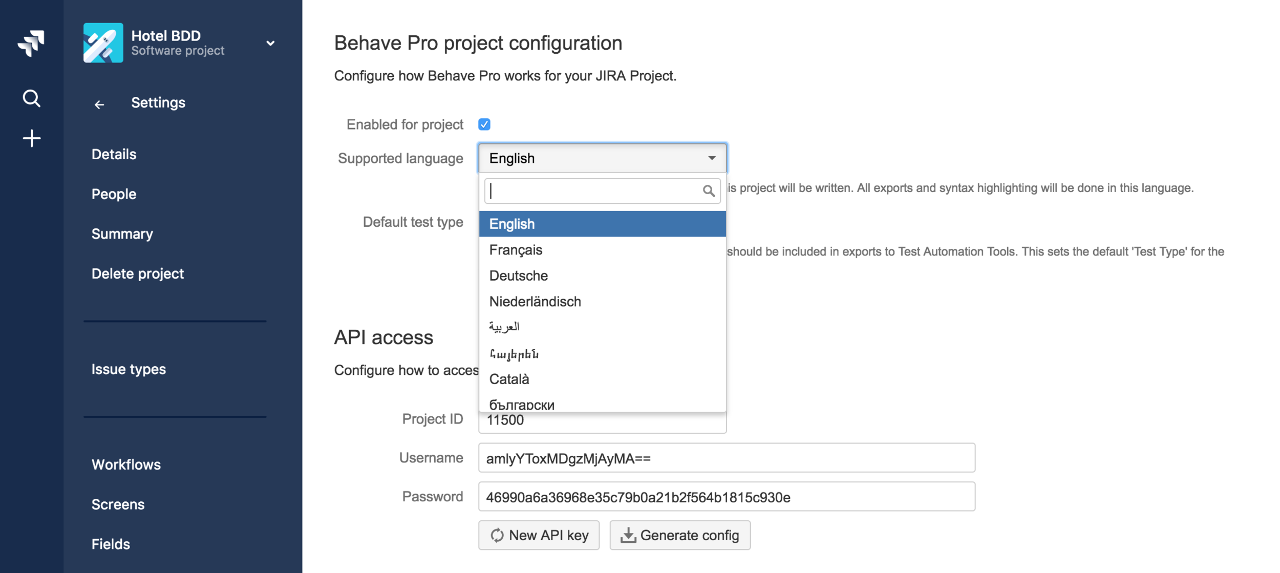 Hindsight Bebave Pro project configuration screenshot