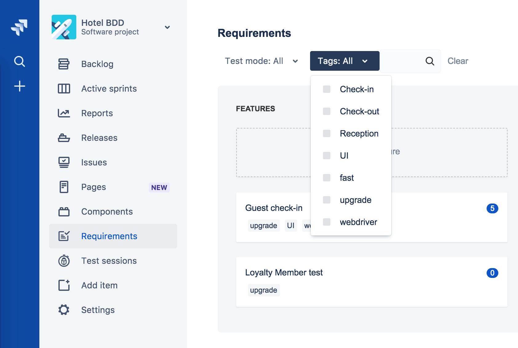 Hindsight requirements screenshot