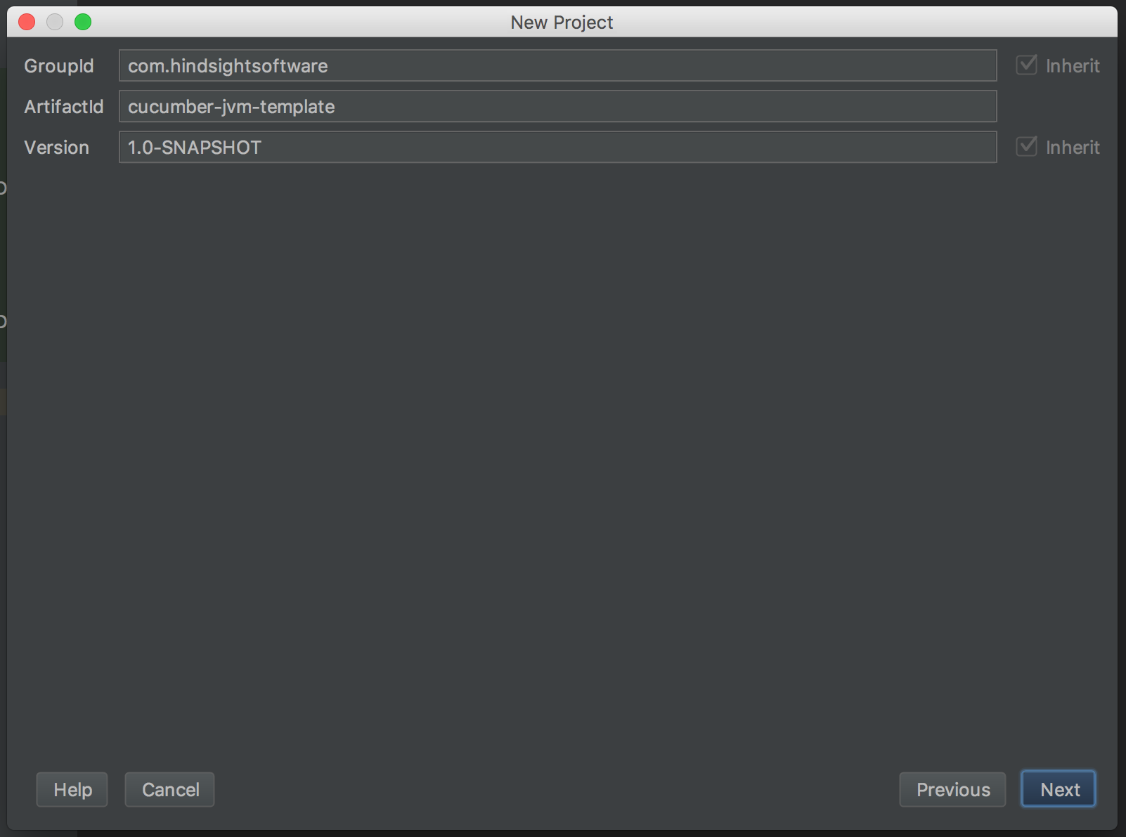 New project, fill in Maven project details screenshot - cucumber testing java - cucumber java