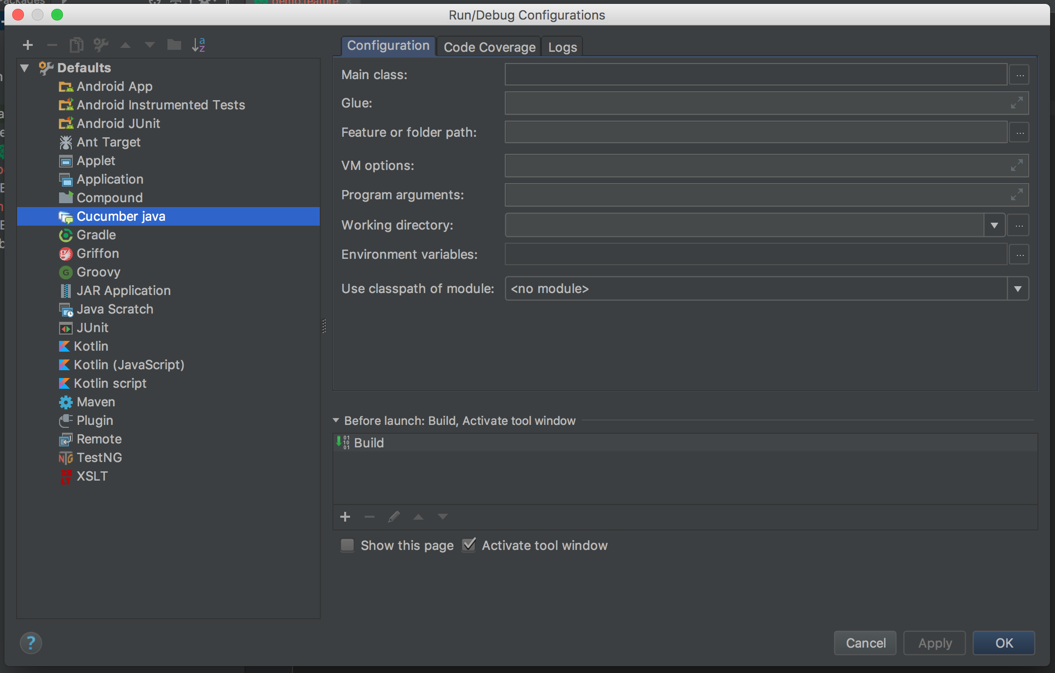 Run/Debug configurations screenshot - cucumber testing java - cucumber java