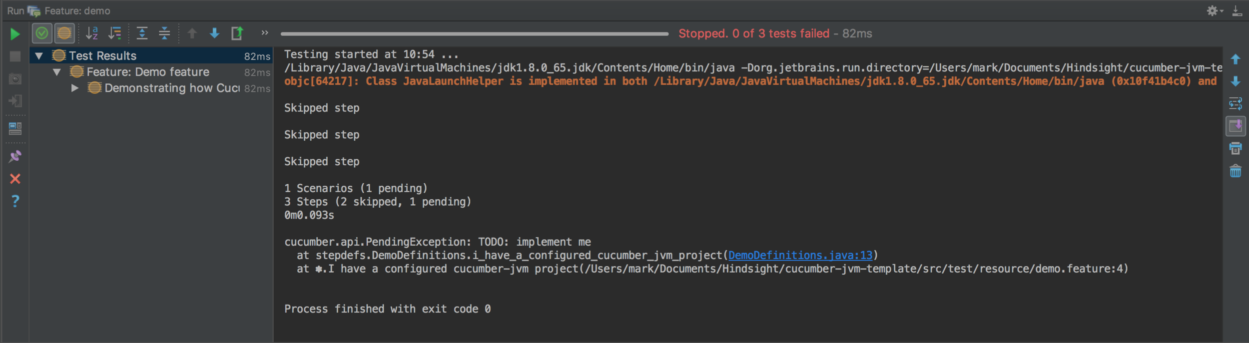 0 of 3 tests failed screenshots - cucumber testing java - cucumber java