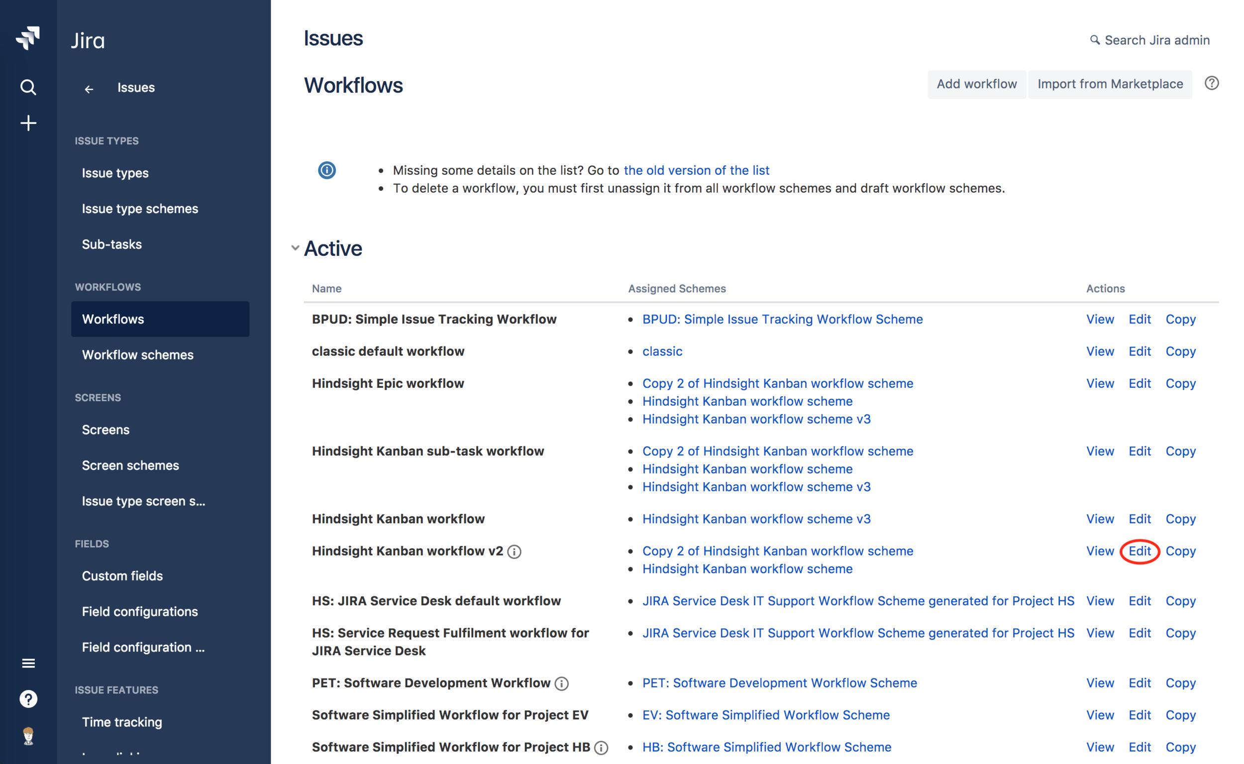 Hindsight workflows screenshot