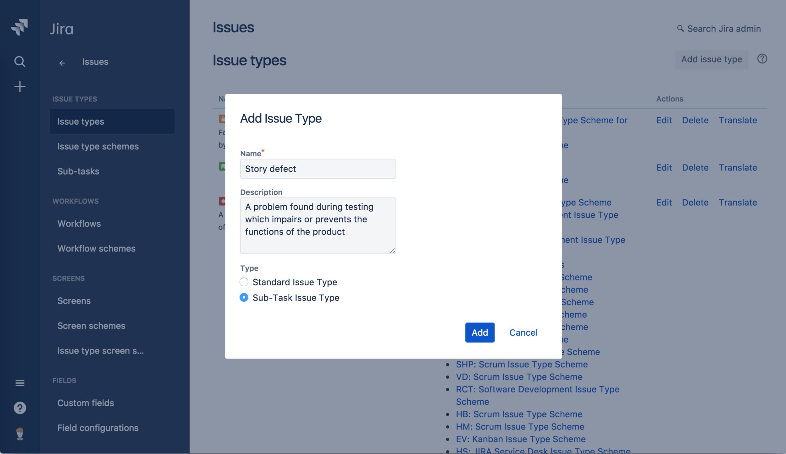 Hindsight add issue type screenshot