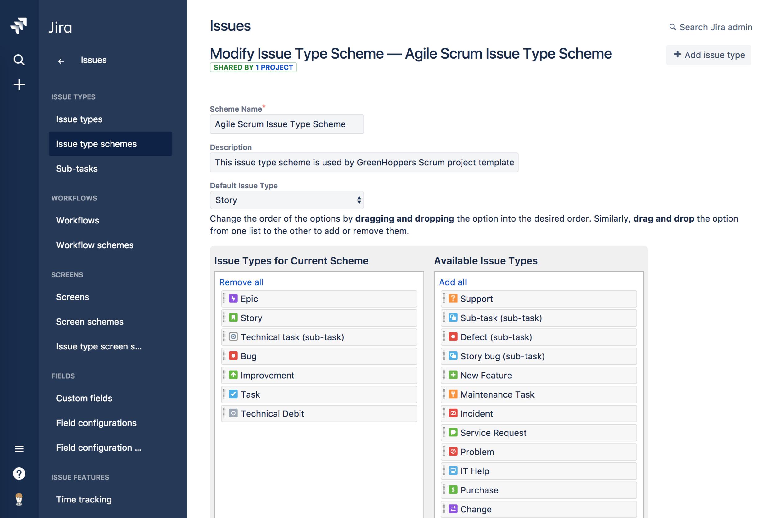 modify issue type scheme screenshot