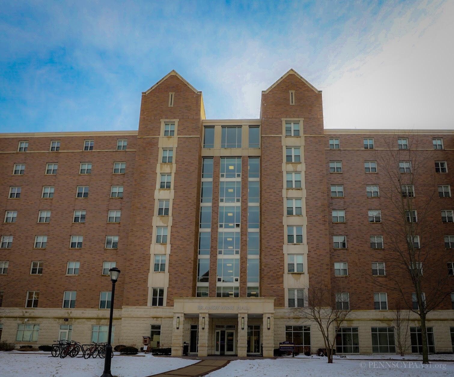 Brandywine Hall, outside the dorms for PENNSCYPAA 31
