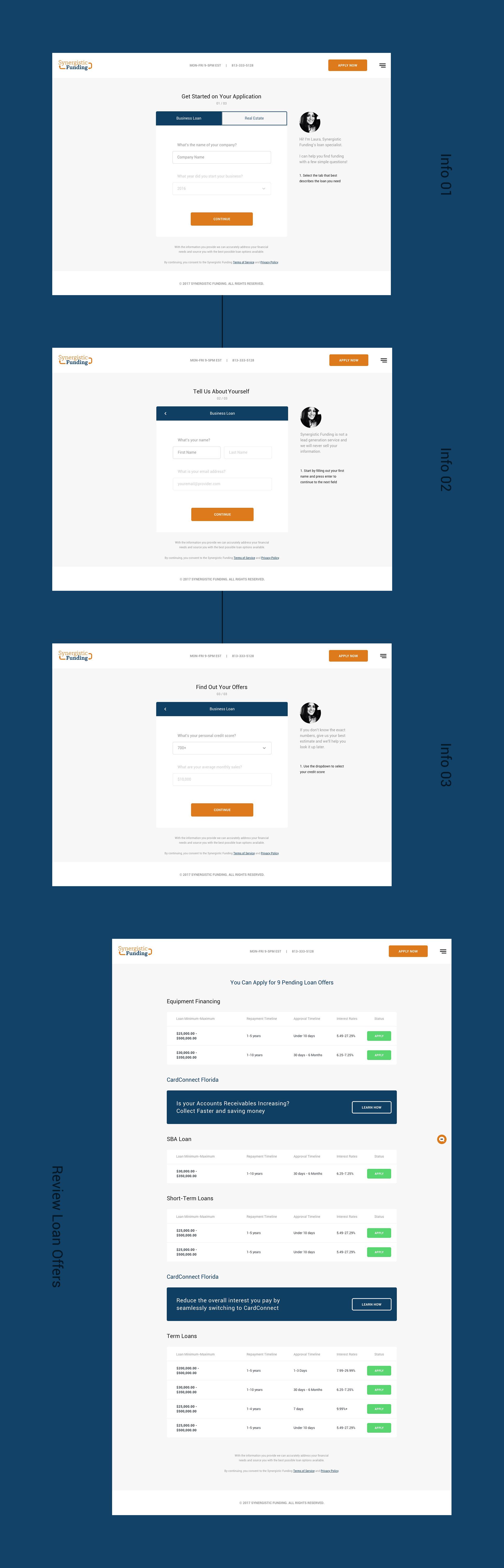 Loan Application Select Screens