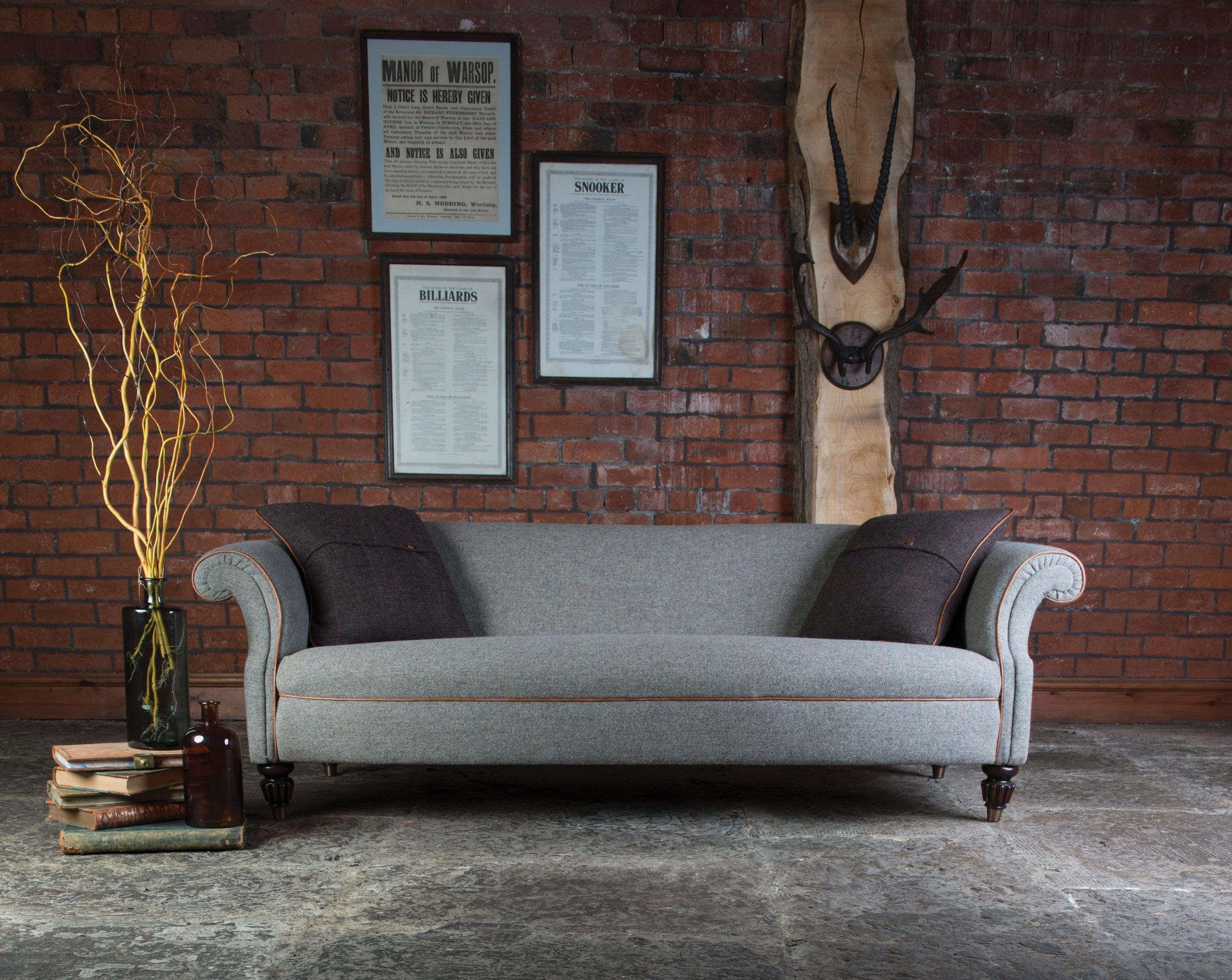 The Bowmore   Grand Sofa: 225(W) 99(D) 75(H)  Midi Sofa: 195(W) 99(D) 75(H)  Petit Sofa: 165(W) 99(D) 75(H)  Chair: 72(W) 76(D) 90(H)   Sofa prices from: £1325