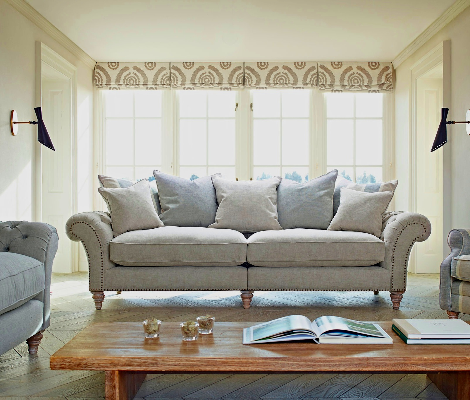 The Keaton   Grand Split Sofa: 265(W) 101(D) 101(H)  Extra Large: 243(W) 101(D) 101(H)  Large Sofa: 223(W) 101(D) 101(H)  Midi Sofa: 203(W) 101(D) 101(H)   Sofa prices from: £1095