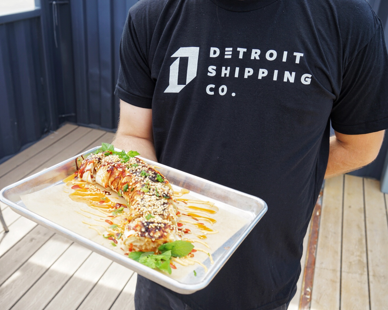 Enjoy the popular Pad Thai Roll. Only available at the Detroit Shipping Company.