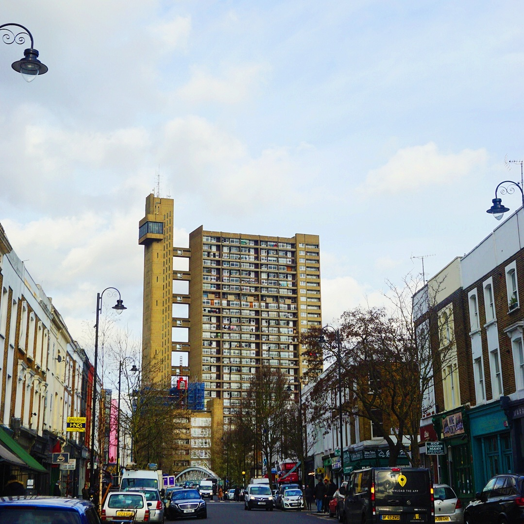 Side profile of Trellick Tower from the Goldborne Road