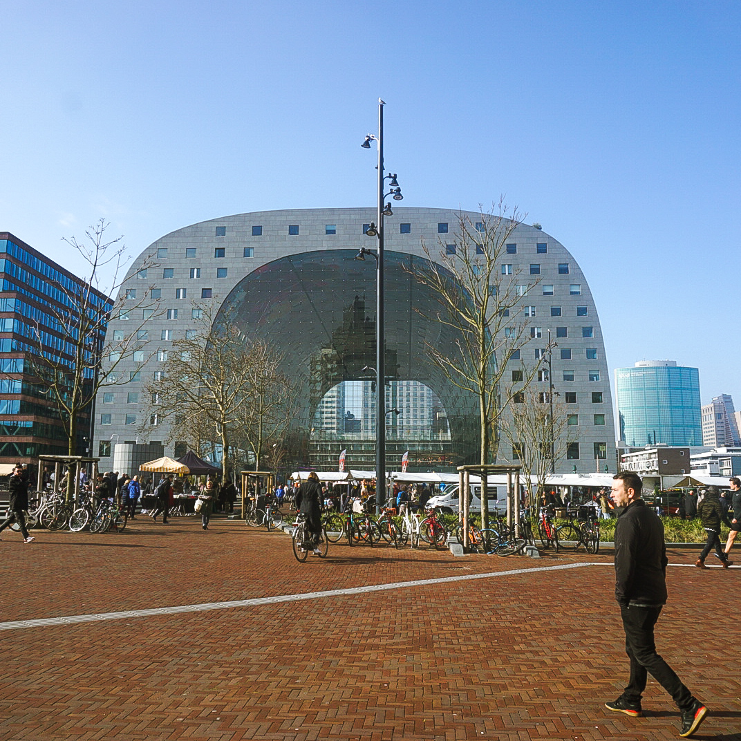 Rotterdam Horsehoe shaped Markthal from the outside on a sunny day
