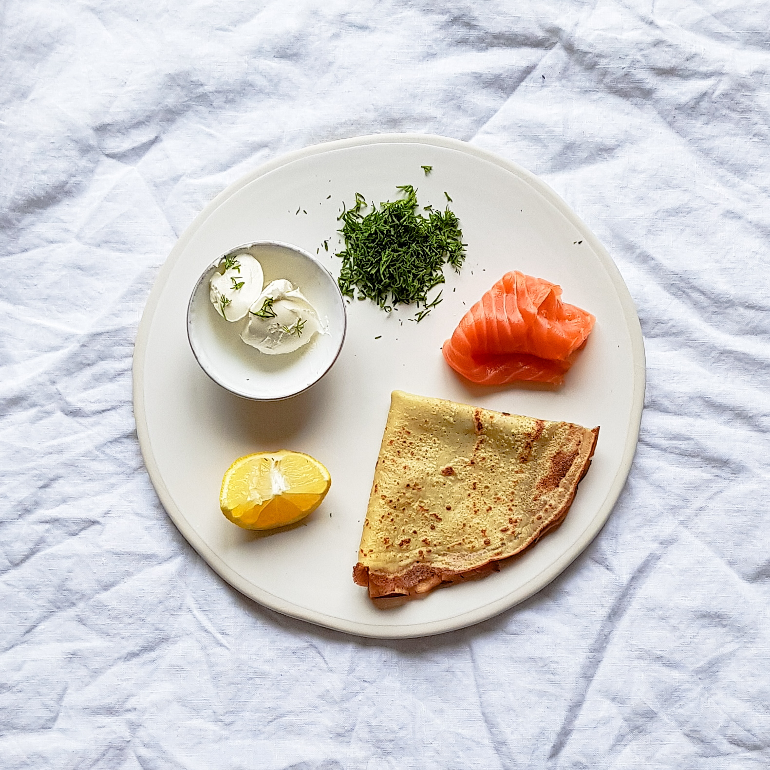 Savoury Crepes! Salmon, Cream cheese , dill and lemon. Perfect for breakfast, lunch or dinner