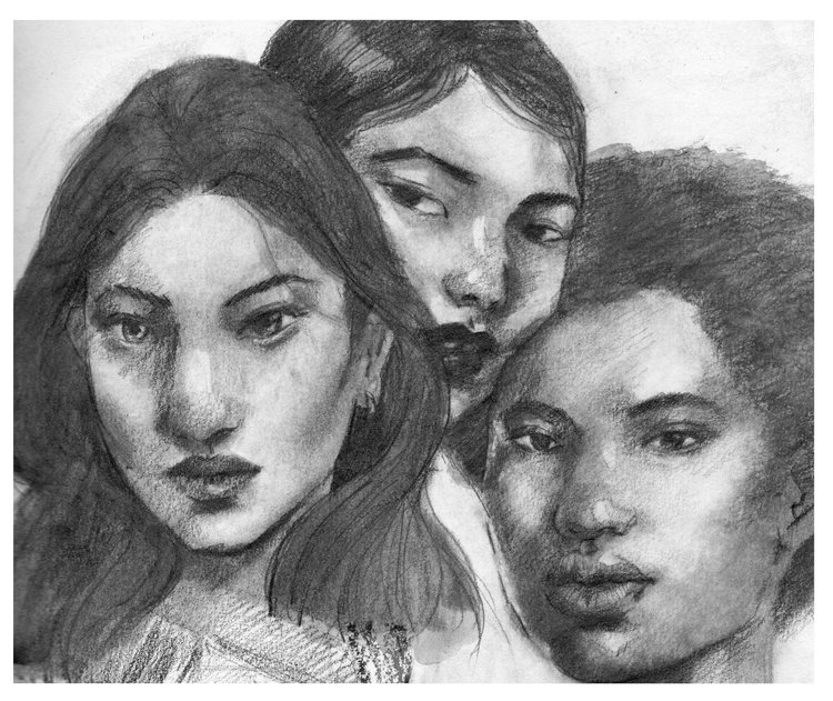 """Women Support Women"" 8x10"", graphite"