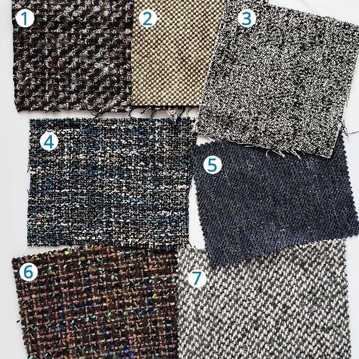 1: Black, Brown and Gray Boucled Wool Tweed ,  2: Olive/Bone Solid Tweed,   3: Black/White/Pale Grey Solid Tweed ,  4: Marine Blue and Beige Polyester Tweed ,  5: Navy and White Cotton Tweed ,  6: Italian Green and Blue Wool Tweed ,  7: Gray Woolen Wool Tweed