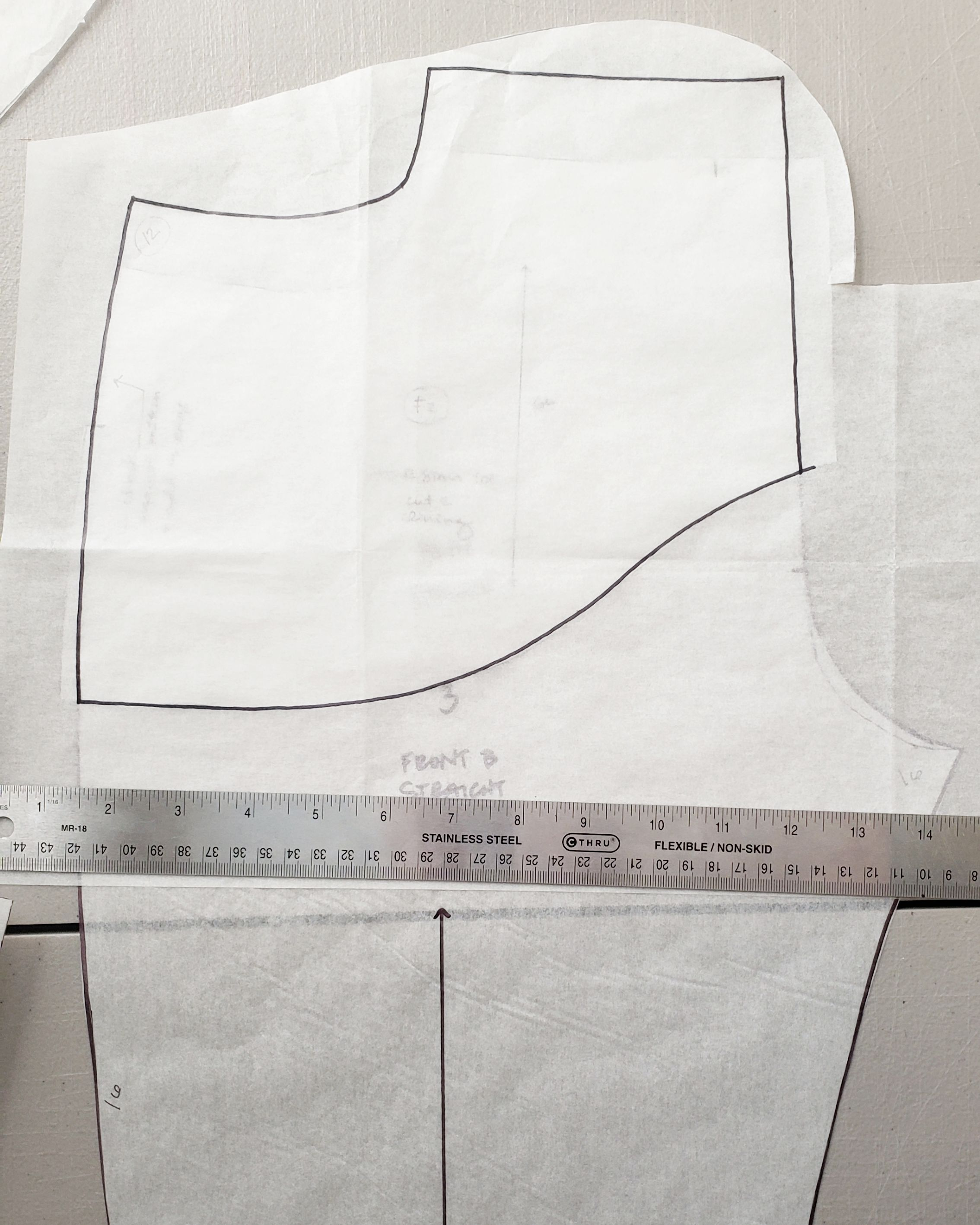 4. Traced rise and front of Dawn Jeans leg with bottom curve of Ginger pocket stay onto ne pattern piece.
