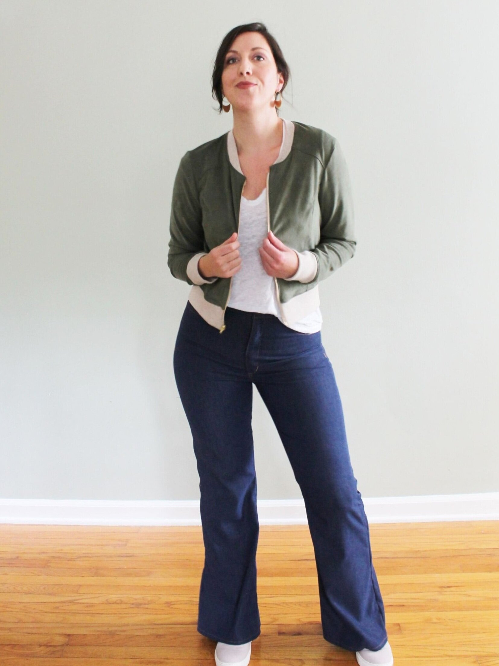 Lightweight Rigid Denim Dawn Jeans with  Pattern Scout Lulu Cardigan  over self-drafted linen jersey tee