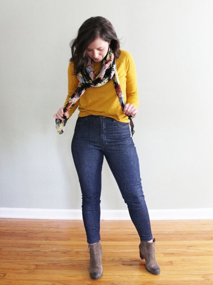 Italian Stretch Popcorn Denim Dawn Jeans with  Grainline Studio LInden Sweatshirt , thrifted scarf and boots