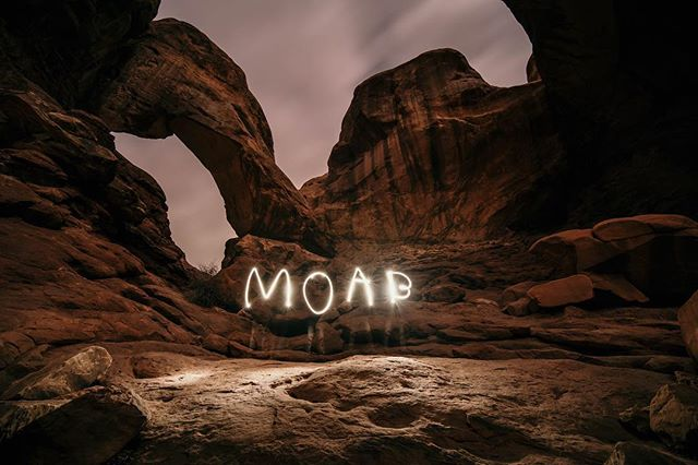 Moab under a cloudy full moon! I think the best time to be out here is when the crowds go away and you have the whole place to yourself. We didn't get the stars we wanted so we added our own little pop. Need to work on those backwards B's! #utahisrad