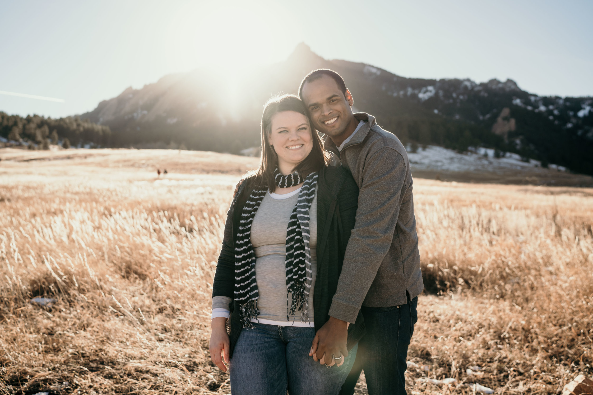 engagement photos at Chautauqua Park in Boulder together