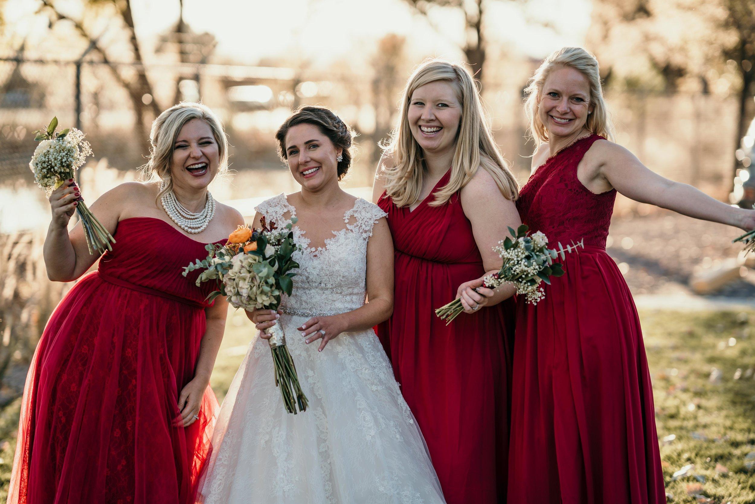 denver wedding bride with her bridesmaids