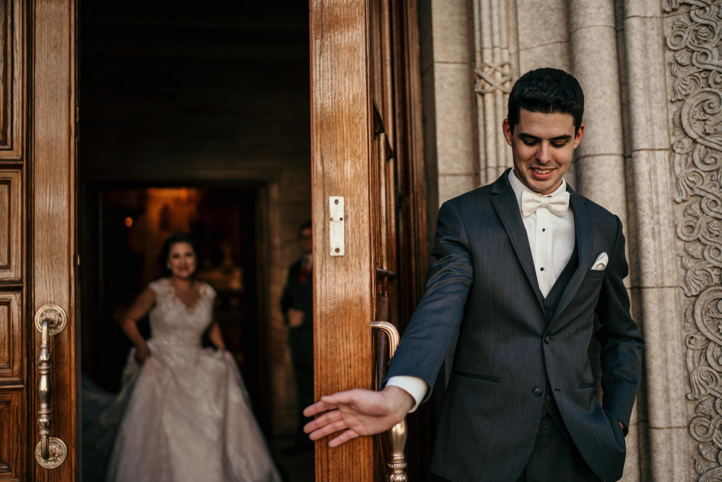 denver wedding at holy ghost church first look
