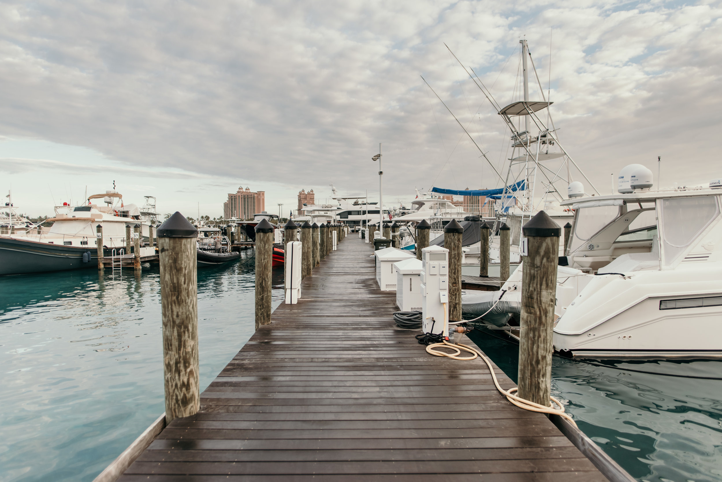 Bay Street Marina in Nassau. The Atlantis Hotel can be seen in the distance.