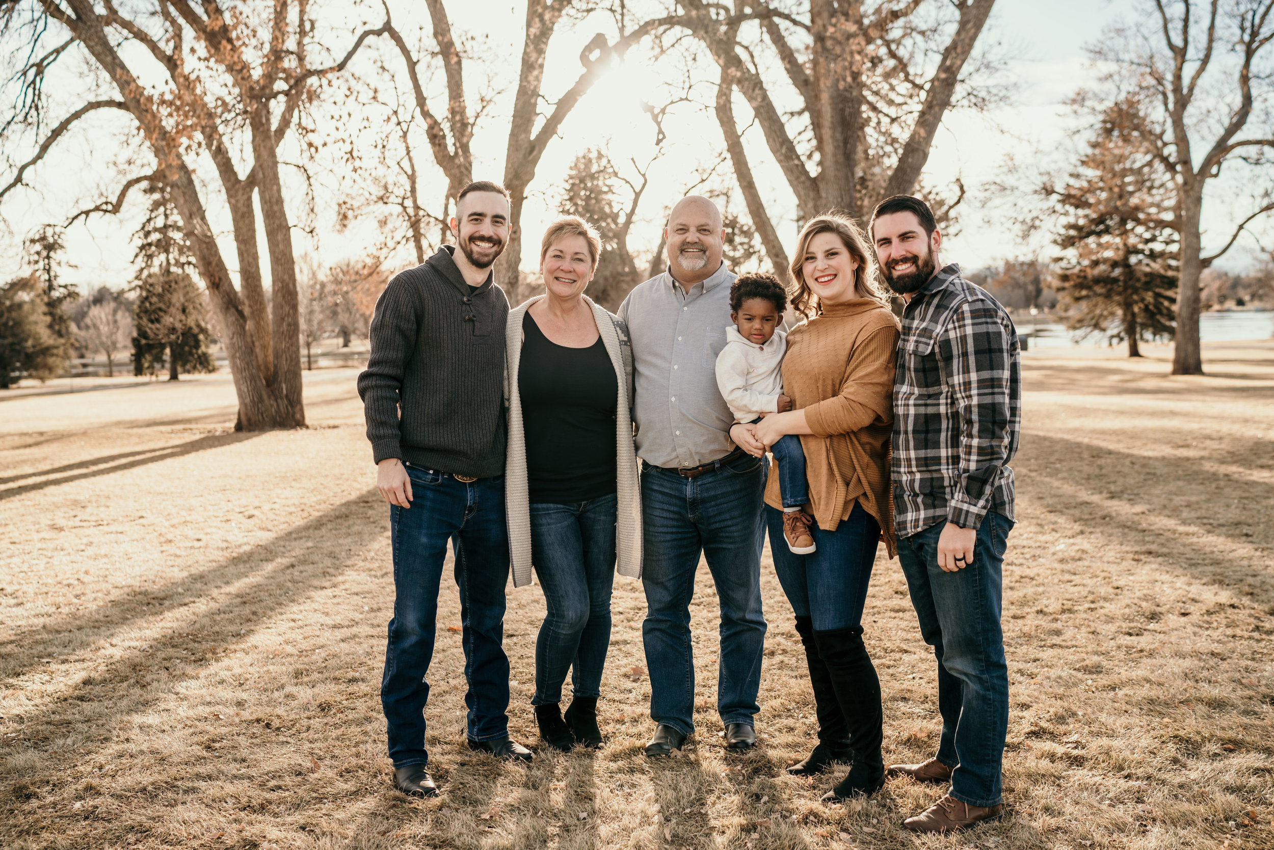 denver family photographers at city park group family smiling