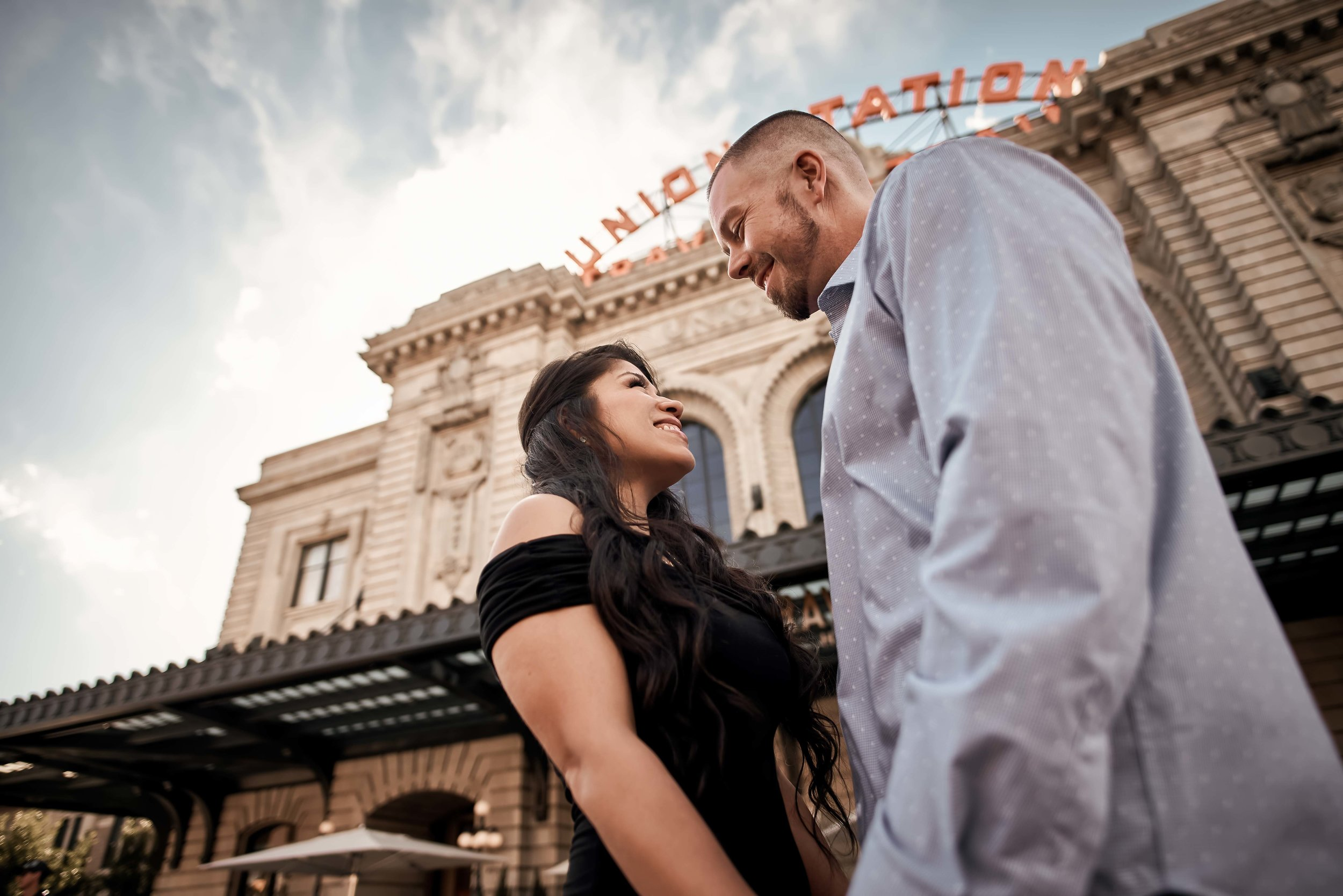 Leticia and Jason engagement photos at Union Station in Denver.