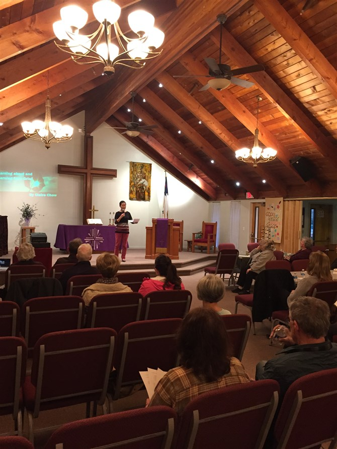 Claire Chow delivers first GRACE Talks presentation, Learning About and Learning From Grief, Tue. April 2, 2019, at San Ramon Grace UMC.