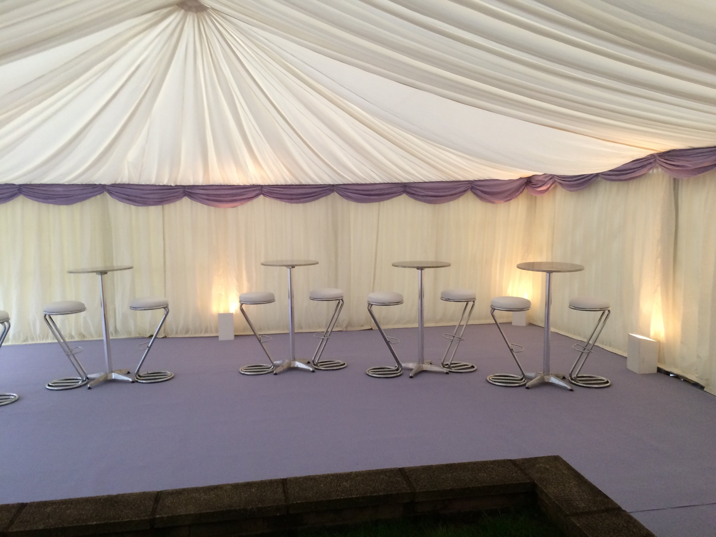 Standard Uplighters - Uplighters are great as they are placed around the perimeter of the marquee on the floor and wash up the walls onto the ceiling creating a contemporary feel to any event. Ideal for use in front of or behind marquee wall linings