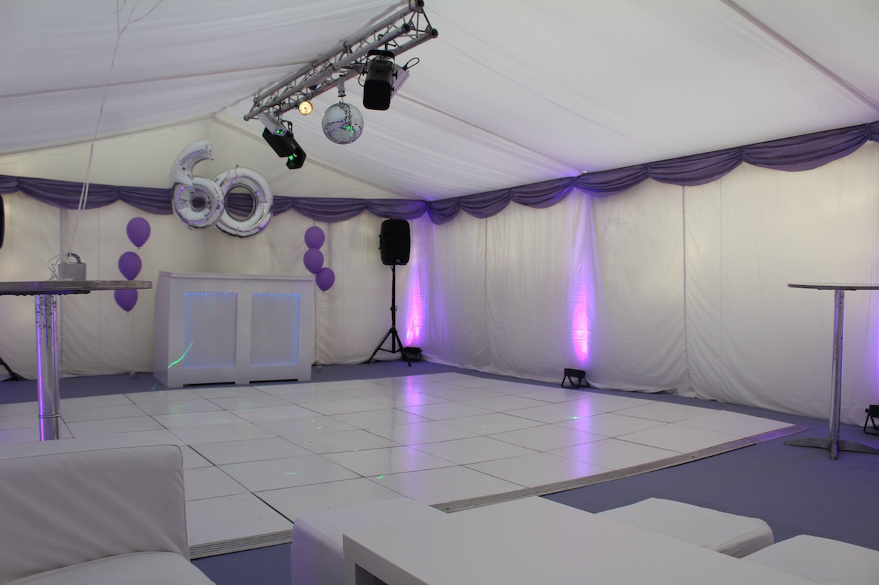 Dance Lighting Package - For that extra special touch to any event, we can supply a dance lighting package which consists of moving lasers and acrobat lights which react to sound all hung from an aluminium truss creating a lighting effect suitable for a club feel in your marquee, working especially well above a dance floor or alongside our star cloth.