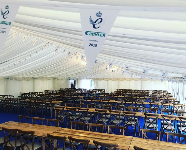 One of our regular clients, Buhler UK needed a marquee to seat over 320 people, all floored and lined with added branded bunting. All rustic furniture to finish off.  Contact us now for your next event - Link in bio . . . #StatusMarquees #Marquee #MarqueeHire #MarqueePhotos #Essex #Hertfordshire #Kent #London #Epping #Buhler #Corporate #CorporateEvents #TeamBuilding #InvestorsInPeople #QueensAward #AwardCeremony #Rustic #Events #EventPlanner #EventSolutions #EventProfs #VenueDecoration