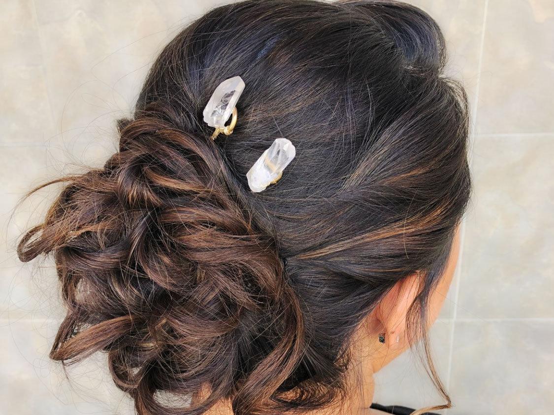 Raw Quartz Hair Pins