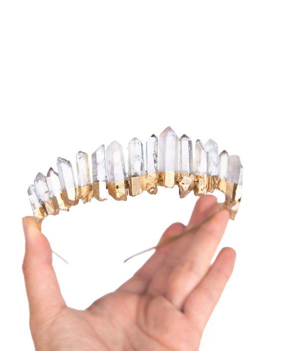 Gold Clear Raw Quartz Crown