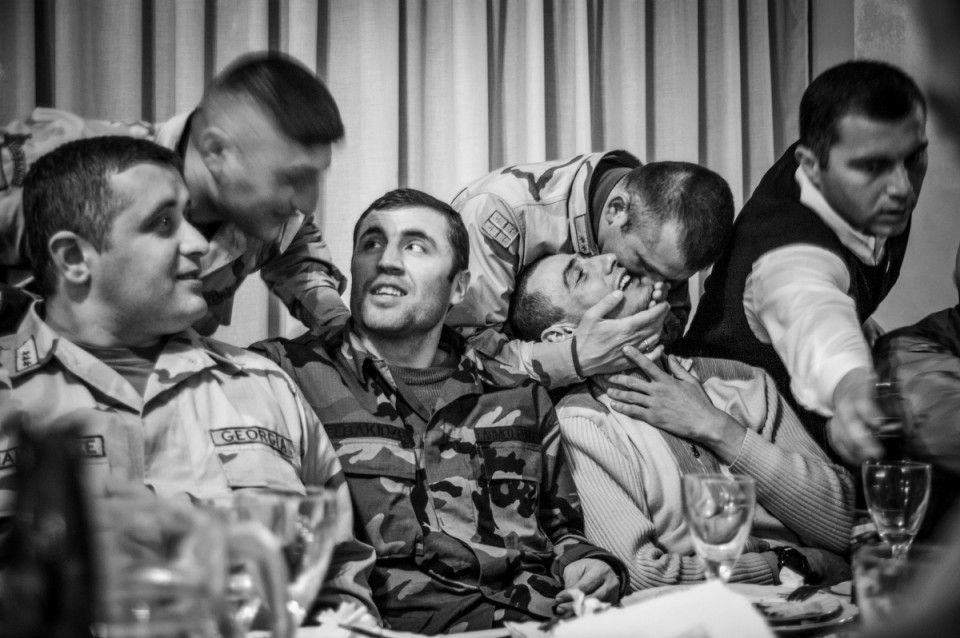 Farewell party for the first Georgian soldiers deployed to Iraq. Tbilisi. 2005.