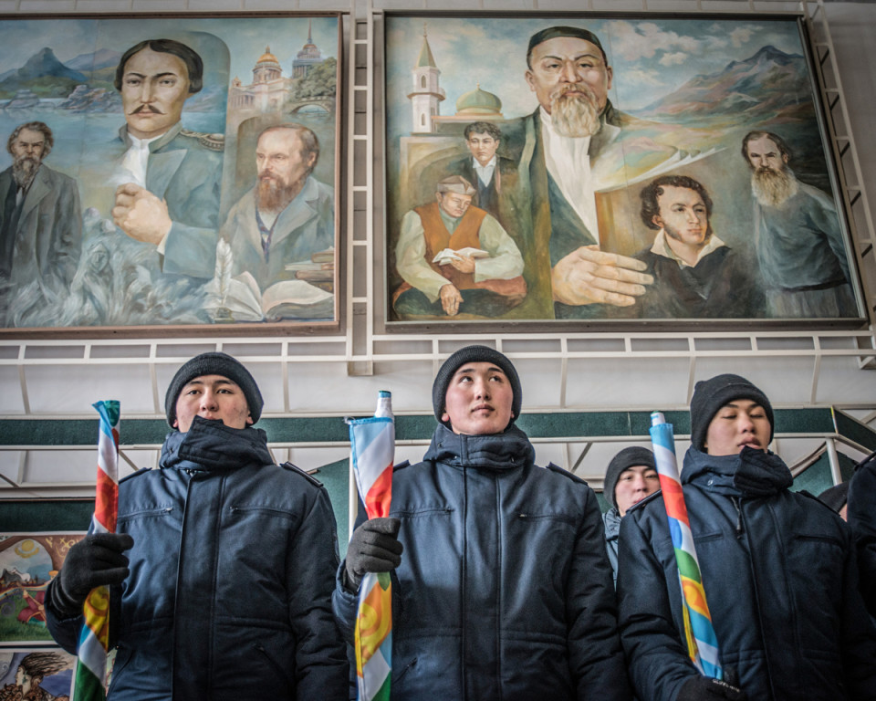 February 2017, Petropavl, Kazakhstan.   Murals at the local university above army conscripts depict two Kazakhs: Abai Qunanbaiuli (poet, composer and philosopher ) and Shoqan Walikhanov (scholar, ethnographer, historian). They are pictured bigger than the Russian writers: Tolstoy, Dostoyevsky and Pushkin.