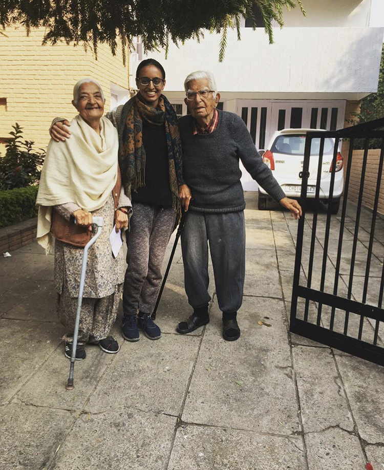 Ankita with family in Chandigarh, India.