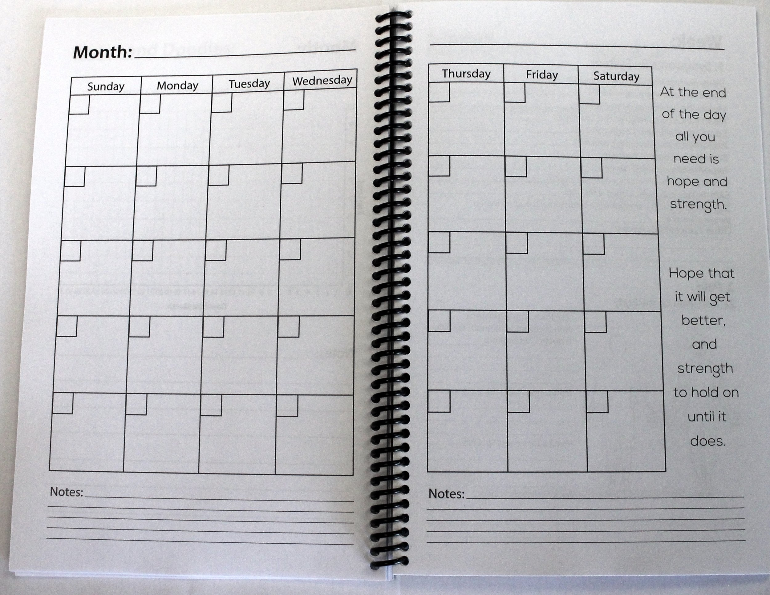 An example of the monthly pages that will be are at every month. Provides plenty of room to jot down appts or any other info.