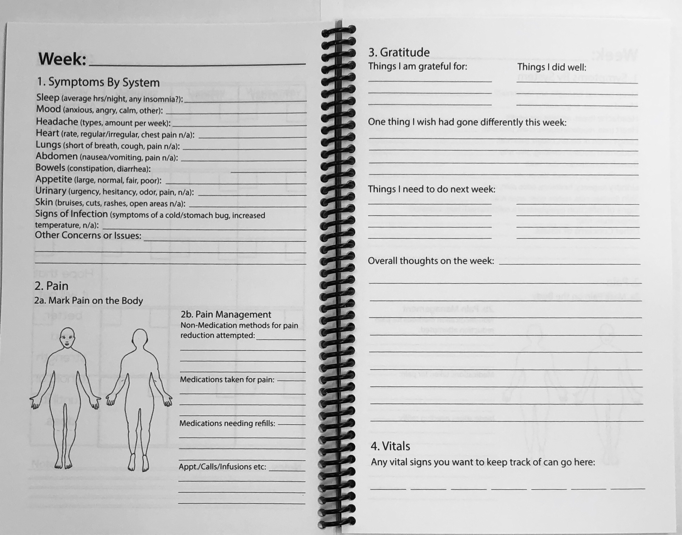 This is what the tracker pages will look like. You will have room to jot down symptoms from each part of the body, as well as pain info and an area for gratitude, journaling and upcoming appts as well as a spot to record vitals for the week!