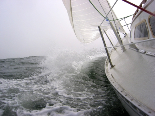 The sails are filled. The engine is off.  I feel the wind and water take over.