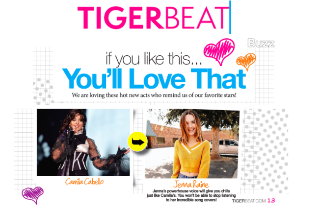 Jenna was featured in Tiger Beat's Winter 2018-2019 Print Issue