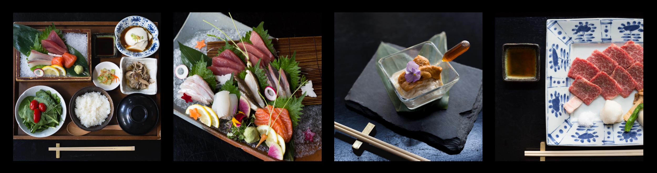Sashimi Teishoku, Assorted Sashimi, Uni Yuba Sashimi, Stone Grilled Kuroge Washugyu