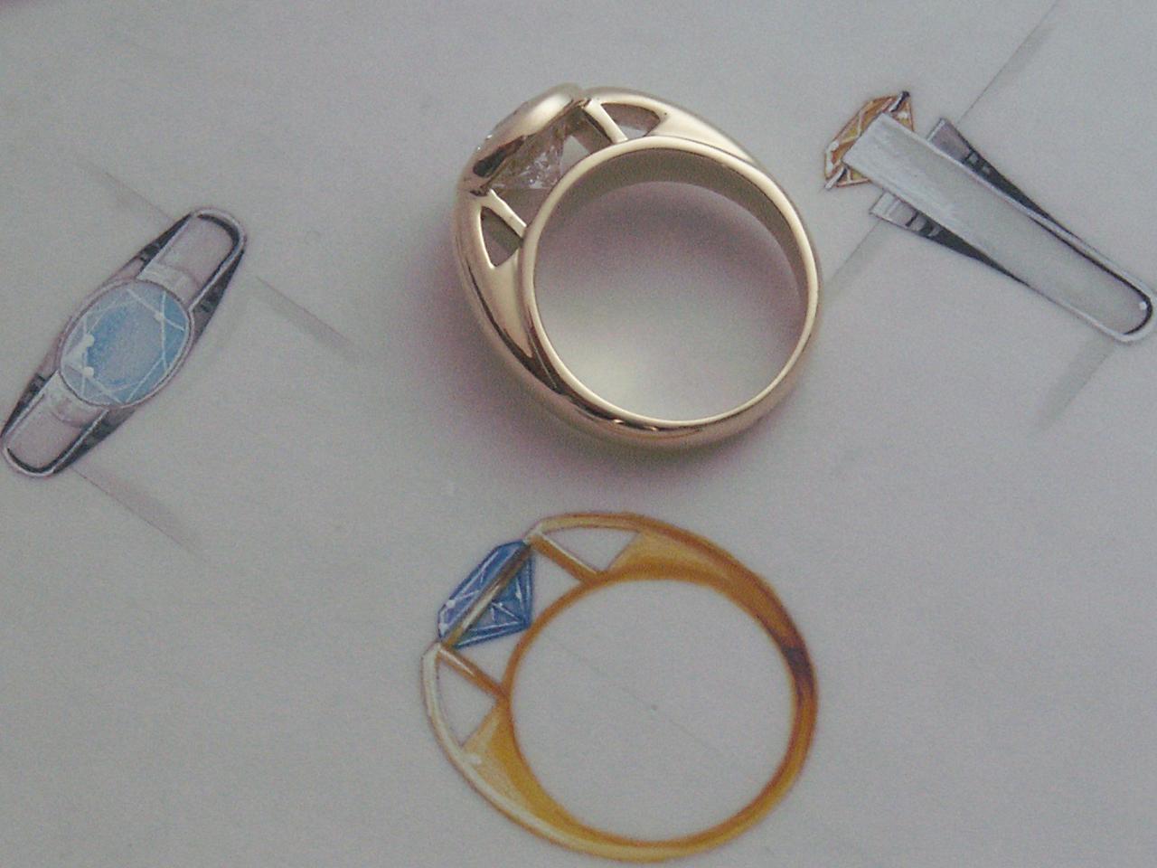 Bague Pythagore - Or jaune et diamant 2,43 carats - Gouaché au service d'une joaillerie moderne et classique